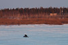 Snowmobile on the Moose River 2011 April 19th apporaching Moose Factory Island.