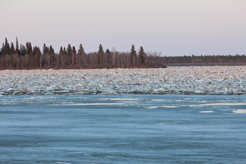 South end of Butler Island 830pm 2011 April 30. Ice sheet close to Moosonee shore is still intact.