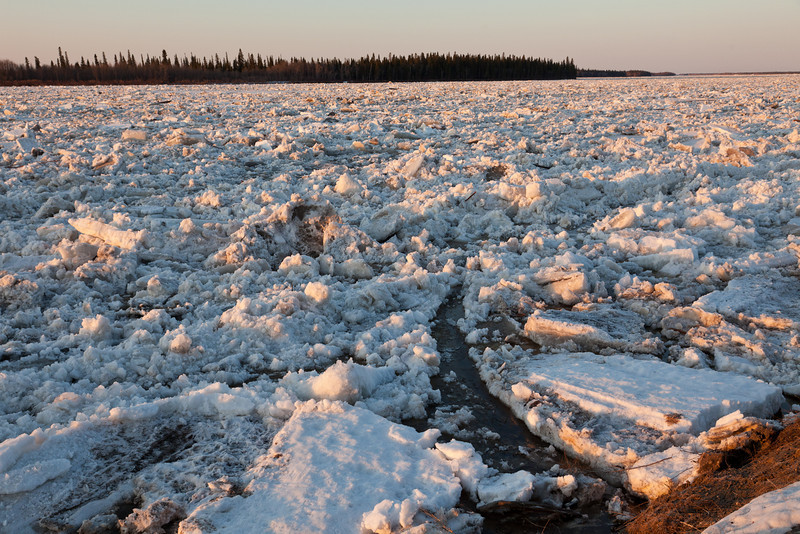 View across the Moose River from near Moosonee water plant