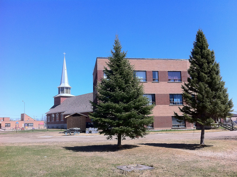 Christ the King Catholic Cathedral in Moosonee. Seen from rear.