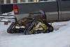 Pickup on tracks in Moosonee.