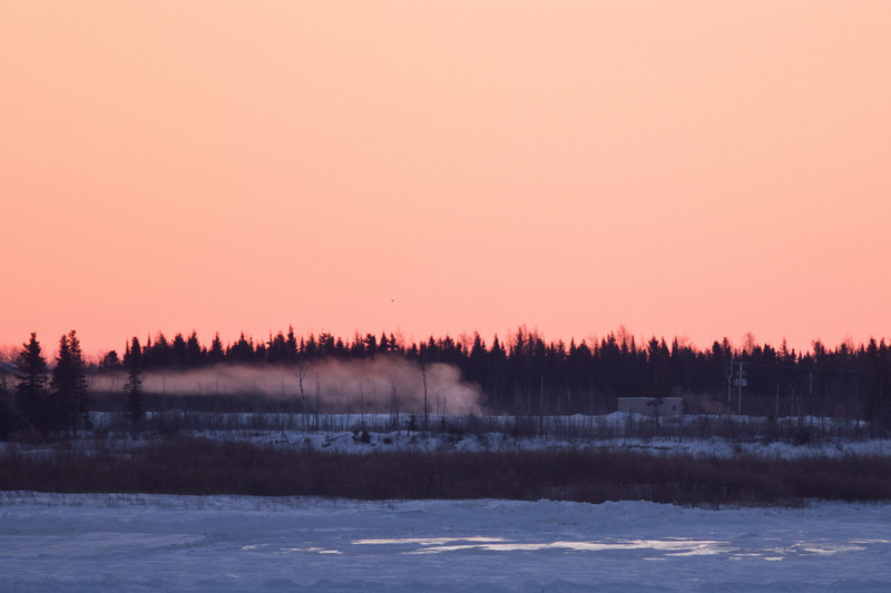 Mist from seewage lagoon in Moose Factory at sunrise 2011 February 27th.