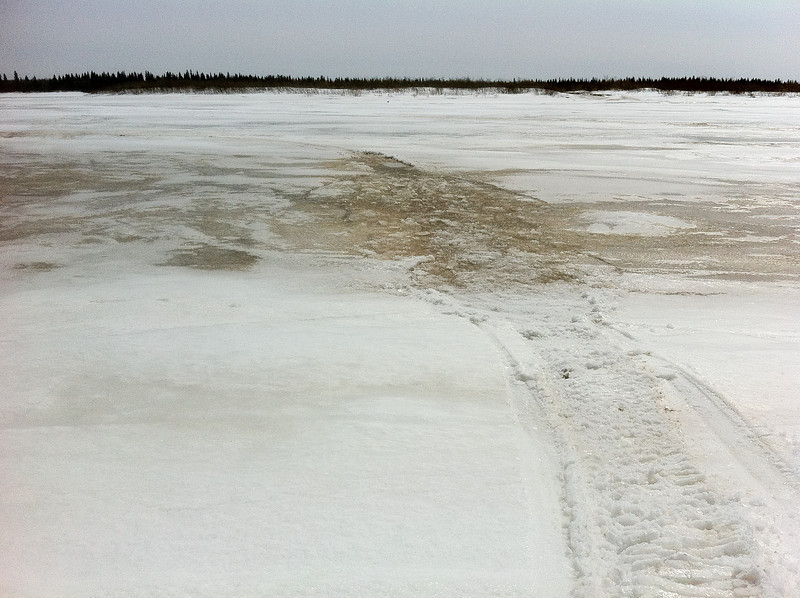 Moose River ice and water at the foot of McCauley's Hill 2011 April 21st