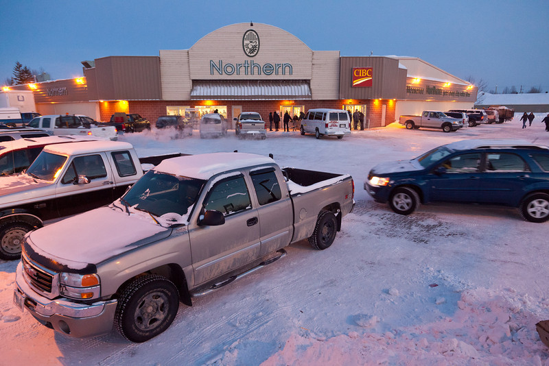 Northern Store parking lot in Moosonee on a Friday evening 2011 January 21st.