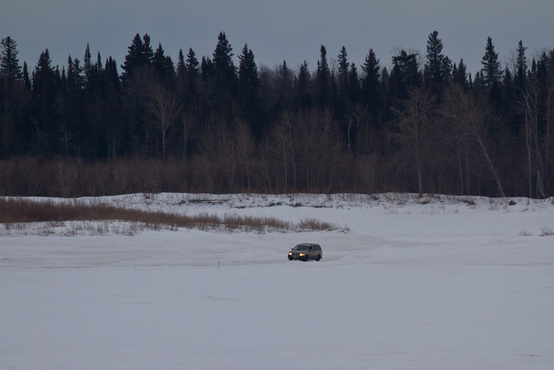 Vehicle on north road from Moose Factory 2011 April 4th