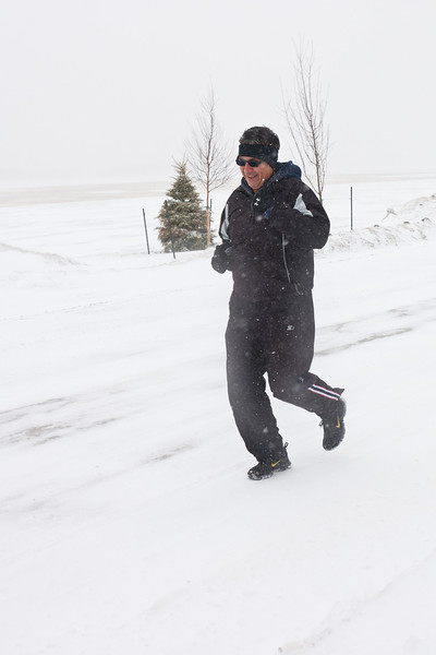 Nick Lazarus out for a run in the snow 2011 April 17th