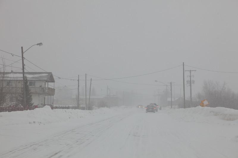 Ferguson Road in Moosonee looking towards downtown and bridge 2011 March 1st during snowfall.