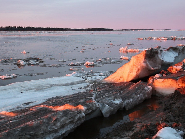 Spring breakup of the Moose River 2011 May 1st. Ice moving along the shoreline where ice was piled up earlier. Poor quality audio.