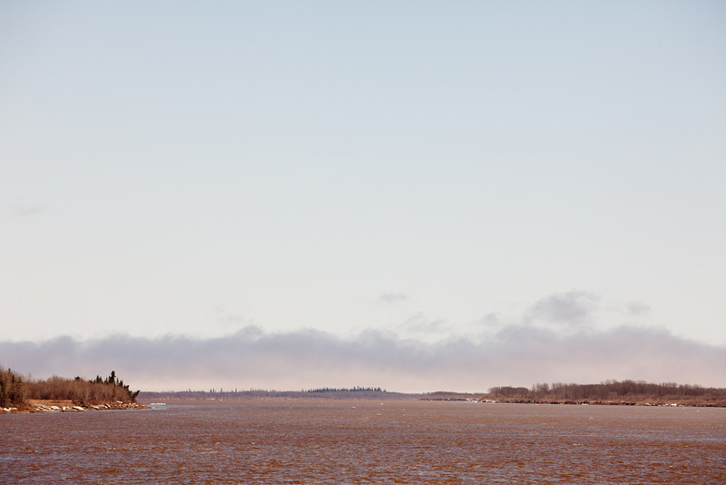 Clouds over James Bay, looking down river from Moosonee 2011 May 4th.