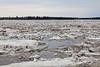 Ice flowing on the Moose River 2011 May 1st at Moosonee, Ontario