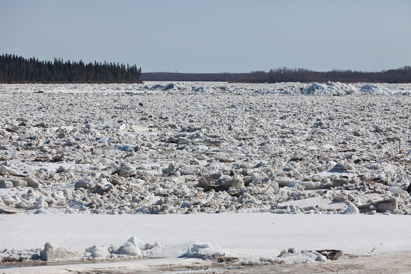 Ice and debris on the Moose River