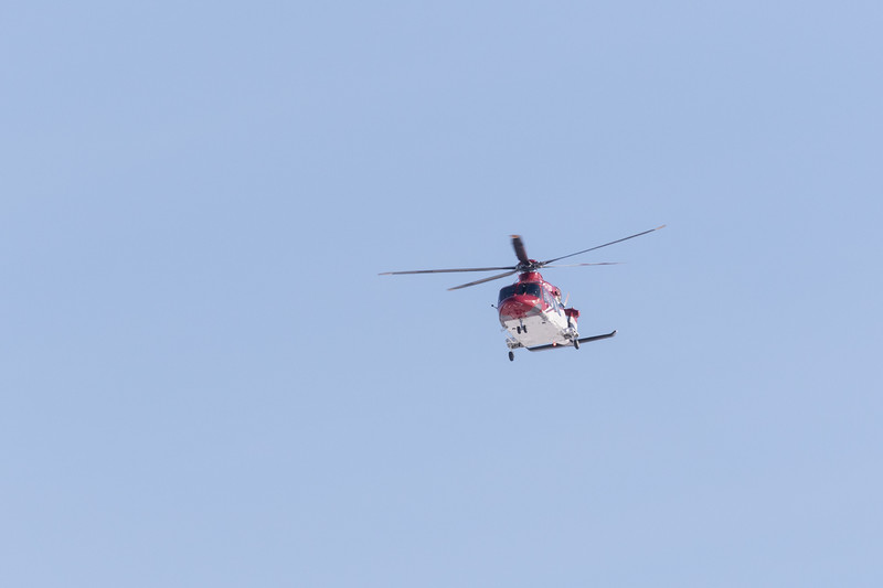 ORNGE ambulance heliocpter C-GYNZ returning to its base in Moosonee from a trip to Moose Factory Island.