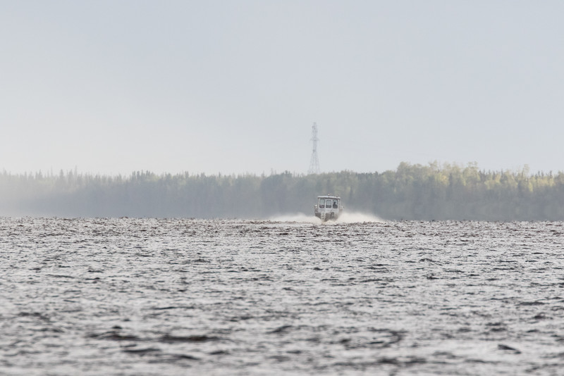 Hospital boat heads up the river towards Moose Factory.