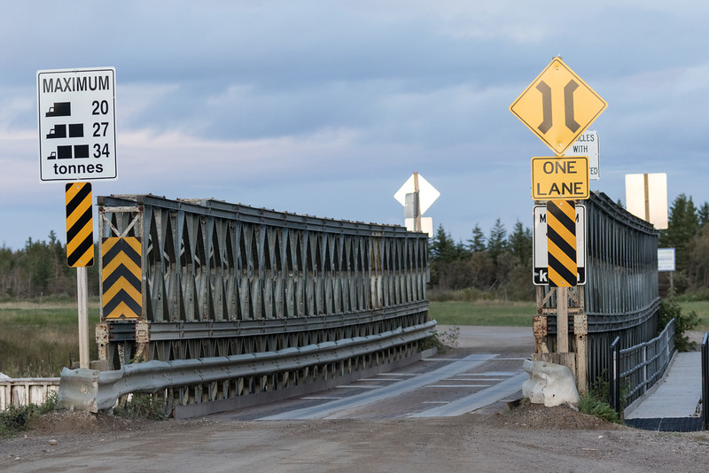 Bailey bridge leading to Moosonee Airport.