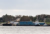 Tugs and barges docked in Moosonee.