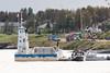 Barge Niska I with police and hospital boats in Moosonee.