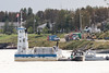 Barge Niska I with police and hospital boats in Moosonee.