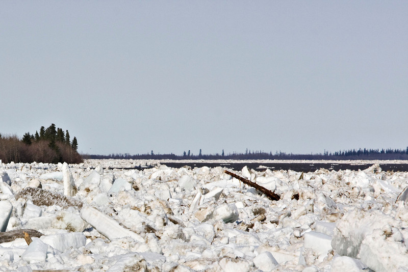 Open water visible from Moosonee looking downriver along the shoreline 5 pm April 24th