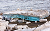 Clear turquoise ice at McCauley's Hill in Moosonee