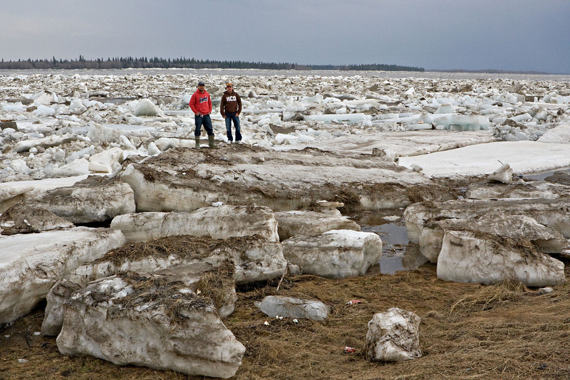 People standing on stranded ice