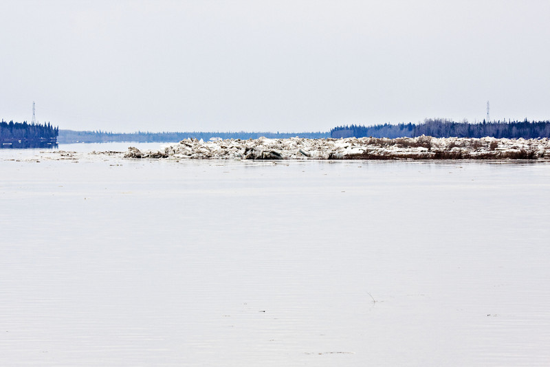 Hydro towars that bring electricity from the mainland to Moose Factory Island