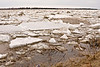 Ice on the Moose River in front of the Moosonee Lodge