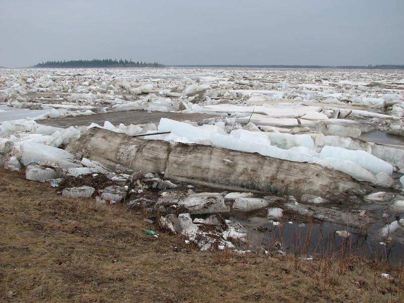 Ice along Moosonee shoreline near Moosonee Lodge