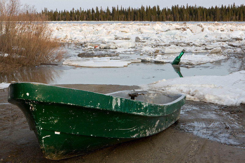 Boat waiting for the river ice to clear