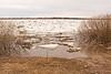 Ice on the Moose River at Moosonee near Moosonee Pentecostal Church