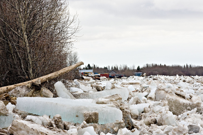 Ice and debris along shoreline