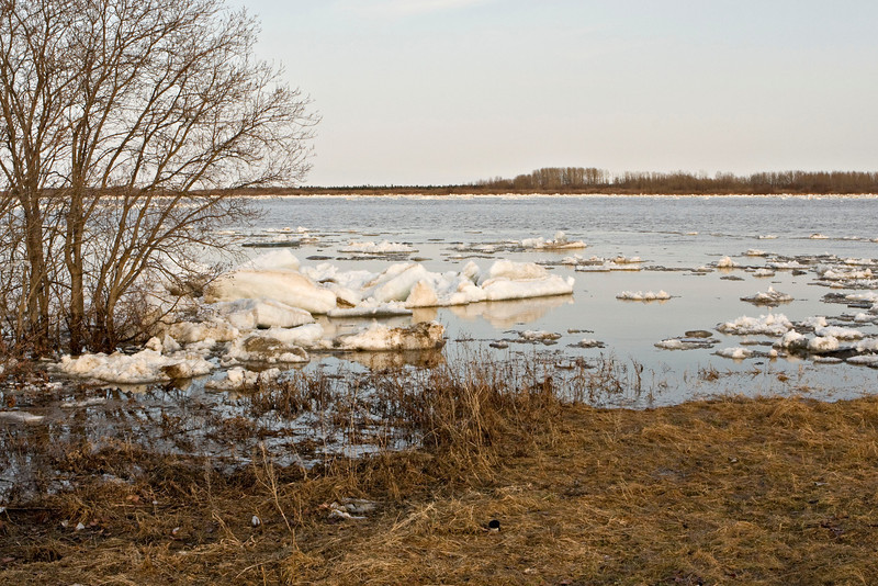 View of river ice and open water from the Moosonee water treatment plant