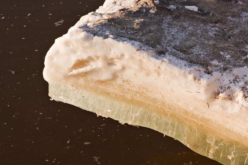 Ice along Moose River shoreline at Moosonee