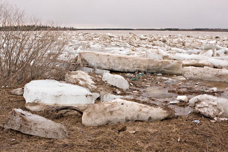Butler Island in background, shoreline ice near Moosonee Pentecostal Church