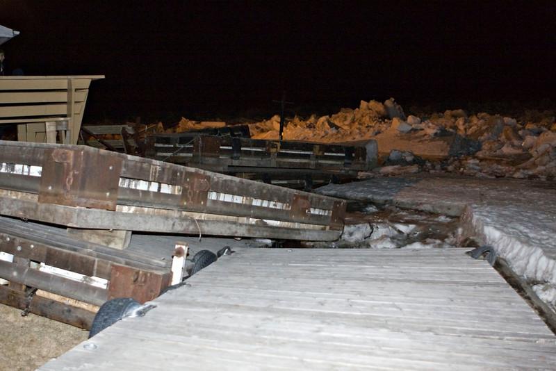Ice near Two Bay docks (docks stored on shoreline for winter)