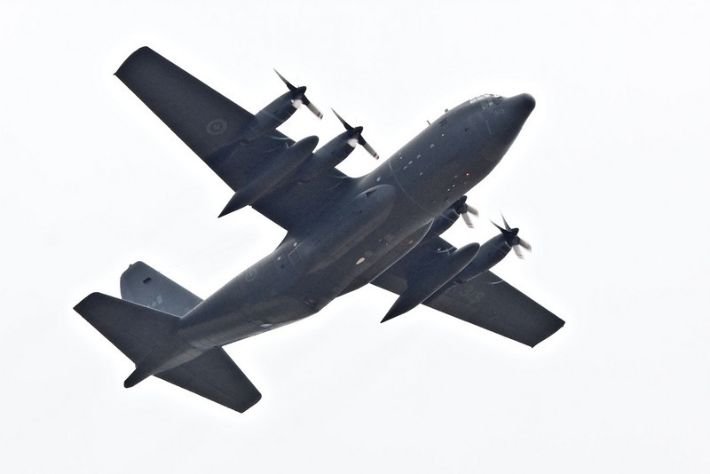 Canadian C-130 Hercules flying over Moosonee while taking part in evacuation of Kashechewan and Fort Albany