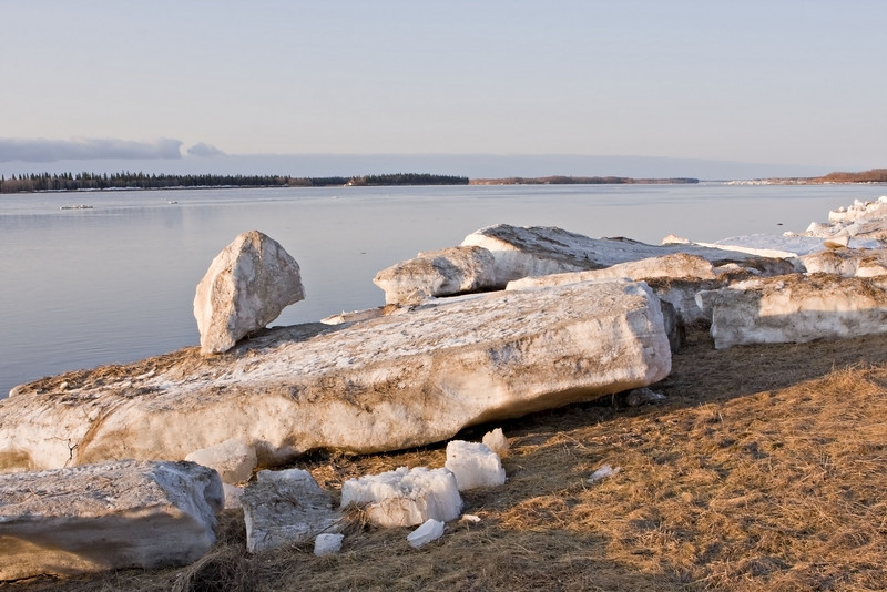 Ice on shoreline of the Moose River with the Gutway in background