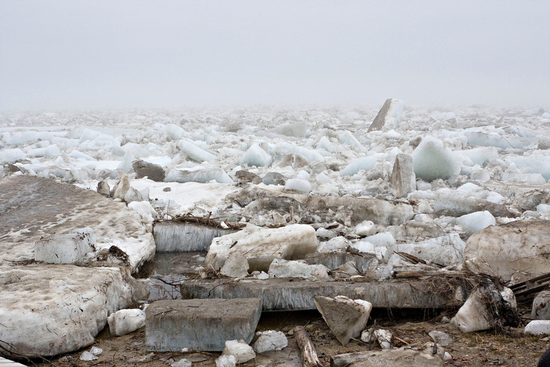 Ice along the shore of the Moose River in Moosonee