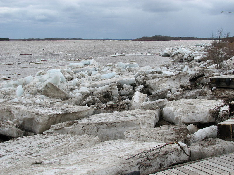 Stranded and floating ice near Two Bay docks