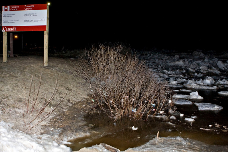Road down to public dock site in Moosonee