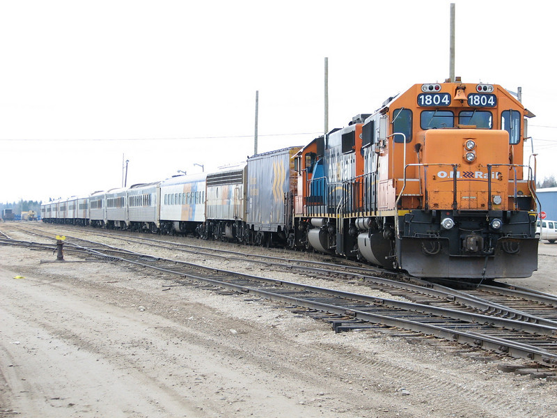 Special train waits in Moosonee to take evacuees from Fort Albany and Kashechewan south once they are flown to Moosonee. In Fort Albany the runway flooded and people are being moved by helicopter to Kashechewan first.