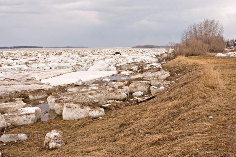Ice on shore near 4th Street in Moosonee