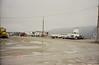 Trucks parked outside garage at former base.