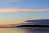 Faint moon above Butler Island before sunrise.