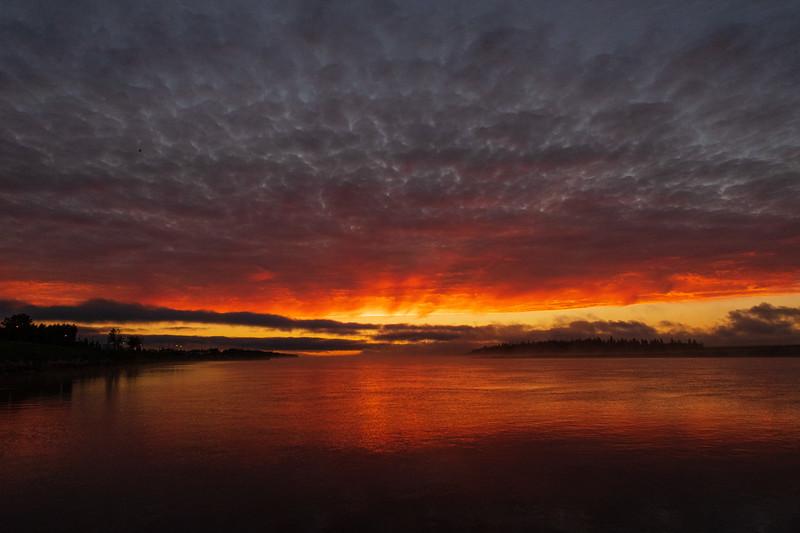 Looking down the Moose River from Moosonee before sunrise 2018 August 10.