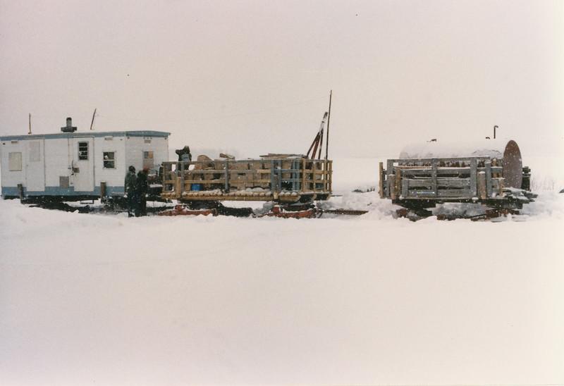 Tractor train in winter. Moosonee 1980s.
