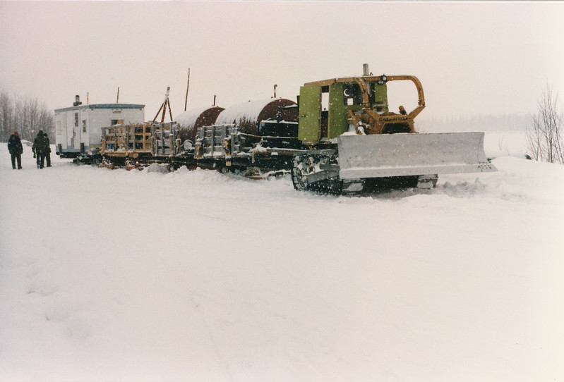 Tractor train in winter. Moosonee 1980s.