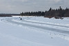 Traffic on winter road to Moosonee. Charles Island at right. 2007 March 11th.
