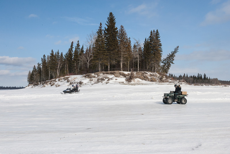 Tip of Charles Island seen from winter road. Driver of ATV waving. 2007 March 11th.