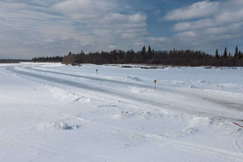View from Moose Factory 2007 March 11st of winter road to Moosonee through Gutway / Cutway. Charles Island at right.