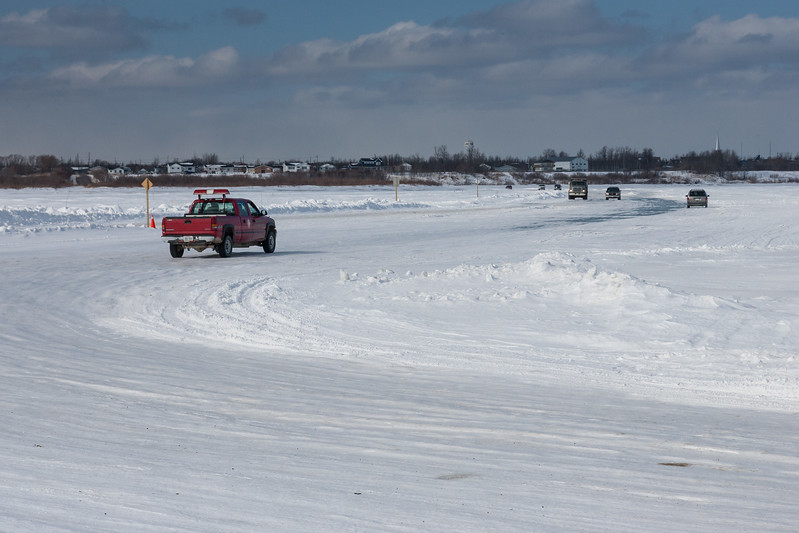 Traffic on winter road headed to Moosonee 2007 March 11th.